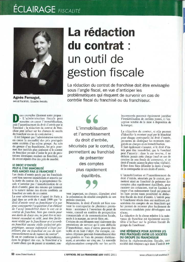 La rédaction du contrat : un outil de gestion fiscale (l'officiel de la franchise, mars 2011)