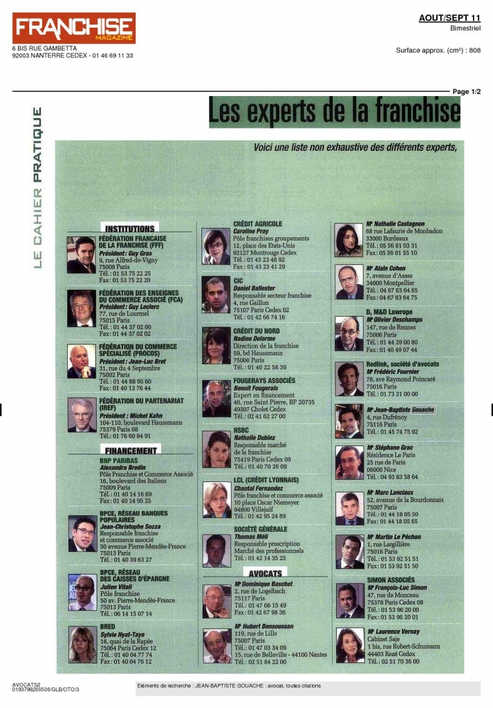 Les experts de la franchise (franchise magazine, août septembre 2011)